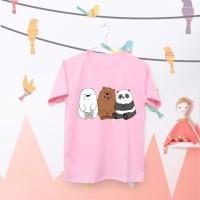 Tumblr Tee / T-Shirt / Kaos Wanita Lengan Pendek Bare Bears Warna Pink