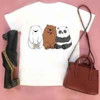 Tumblr Tee / T-Shirt / Kaos Wanita Lengan Pendek Bare Bears Putih