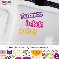 Stiker Nama Waterproof, Sticker Nama Cutting Outline,Label Nama Bolong