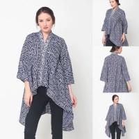 Baju Blouse Atasan Batik Wanita Modern Nona Rara, Elena Blouse T0239 - Sesuai Gambar, All Size