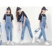 Baju Terusan Baju Monyet Rompi Jeans Jins Ripped Sobek Wanita Cewek