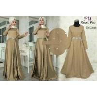 4431 long dress muslimah baju pesta coksu remaja wanita mote mutiara