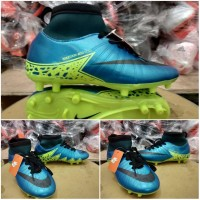 Sepatu Sepak Bola Anak Nike Hypervenom Skin High Biru Hijau Murah