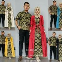Baju Batik Kebaya Couple Dewi Sri Set Hem Kemeja Cowok Lengan Pendek