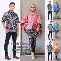 Baju Batik Couple Rabbani Set Rok Hem Kemeja Cowok Lengan Pendek