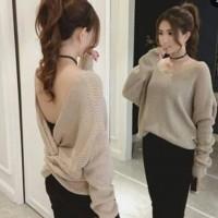 Baju Atasan Wanita MOLUNA RAJUT Pita Belakang Bahan Rajut