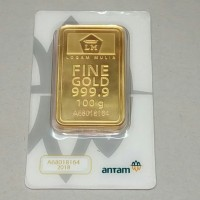 Emas Batangan ANTAM, LM Logam Mulia ANTAM, Gold Bar, FineGold 100 Gram