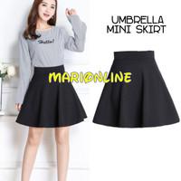 Rok hitam pendek umbrella wide flare mini skirt