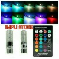 LAMPU LED SENJA T10 RGB 2pcs kontrol remot