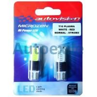 Autovision Microzen LED T10 W5W Plasma Putih Merah Strobo Lampu Senja