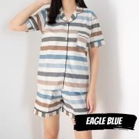 CPD EAGLE BLUE piyama wanita ABG celana pendek katun halus adem garis
