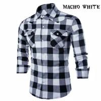 Kemeja baju pria hem shirt kotak kotak hitam putih lengan panjang