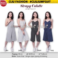 Strapy Culotte Jumpsuit Stripe Salur CJS132 - Hitam