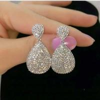 Anting Pesta Tusuk Wanita Silver Mewah Full Diamond