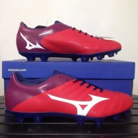 Sepatu Bola Mizuno P1GA187762 Rebula V4 High Risk Red White Blue Depth