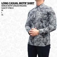 Kemeja Pria Lengan Panjang Slim Fit Baju Cowok Motif Casual Shirt