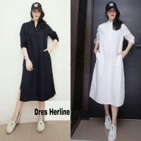 [Dress Herline RO] dress wanita katun hitam dan putih