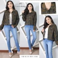 Baju Jaket Wanita Soft Jeans Motif Army Armi ABRI Hijau Ijo Loreng