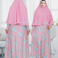 gamis syari spandek jersey set jilbab motif bunga