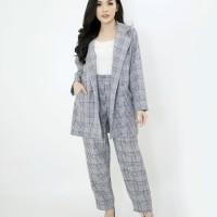 Setelan Kerja Wanita Jumbo Bigsize One Set Blazer Dan Celana Nemy