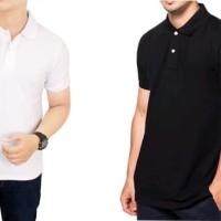 kaos kerah polo shirt polos pria cowok / polo shirt unisex hitam