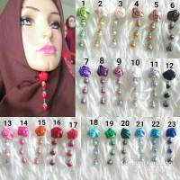 Bros Dagu Juntai Bunga Murah Aksesoris Jilbab Hijab Kerudung Brooch