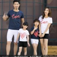 baju couple keluarga trendy - kaos family santai - fam 2 anak love
