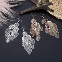 anting rumbai daun multilayer hollow leaves earrings jan149