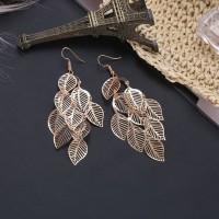 anting rumbai daun multilayer hollow leaves earrings jan149 - gold