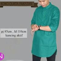 baju koko pakistan warna hijau tosca