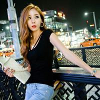 Kaos baju tshirt sexy seksi wanita cewek clubbing hitam korea style