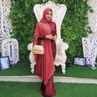 Baju Gamis Busana Muslim Modern Maxi Princess Duyung Marun Murah