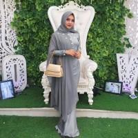 Baju Gamis Busana Muslim Modern Maxi Princess Duyung Grey Murah