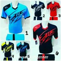Baju Futsal Jersey Olahraga Volly Kaos Bola Setelan Voli Mizuno - Biru Muda, M