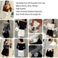 Pom Off Shoulder Knit Top (BLACK,WHITE,BROWN) - 15660