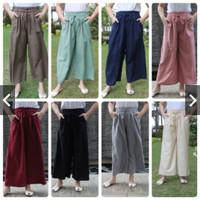 Celana Kulot Katun Rami Linen Polos / Celana Panjang Wanita