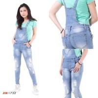 Celana Panjang Overall Ripped Jeans Denim Modis trendy Skirt Kodok JSK - Biru Muda, 30