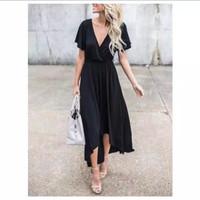 Baju pantai bali wrap dress in black