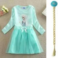 Baju Dress Elsa Frozen + Jepitan Rambut Kepang