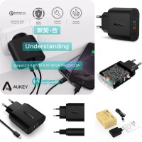 Aukey Quick Charge 3.0 36W Dual Port Charger PA-T13 (Qu Diskon