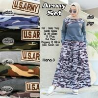 Baju Setelan Wanita Atasan Rok Army Set