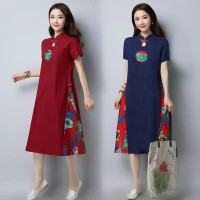Dress cheongsam wanita etnik/pakaian maxi wanita model etnik china