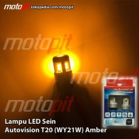 Autovision LED T20 Sein Sign Sen Riting Amber Kuning Emas WY21W Colok