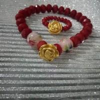 Paket gelang & cincin emas Hongkong, mawar 0,88gram