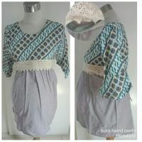 Baju atasan hem kemeja lengan pendek hamil menyusui batik katun 4050
