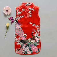 Dress Bayi Perempuan Cheongsam Merah Bunga Bangau