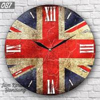 087 Jam Dinding Unik Motif Bendera Inggris United Kingdom