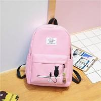 Tas / Tas wanita / Ransel / Backpack / Tas Sekolah / Tas Import -Dark - Merah Muda