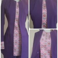 Setelan blazer batik wanita warna ungu tua kode 209