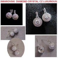 PERHIASAN ANTING SWAROVSKI DIAMOND CRYSTAL CZ EARINGS LUXURIOUS